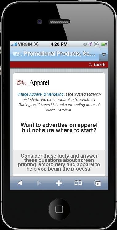 Image Apparel & Marketing Mobile Website